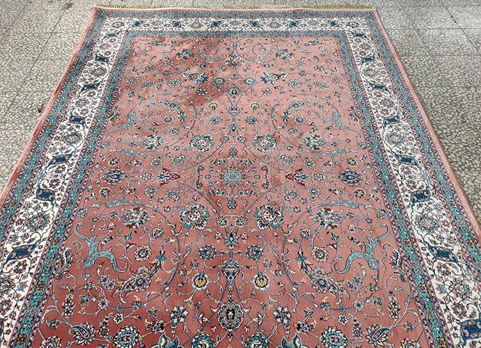فرش سایز بزرگ کد : 1059PC ، زمینه مسی ، حاشیه کرم
